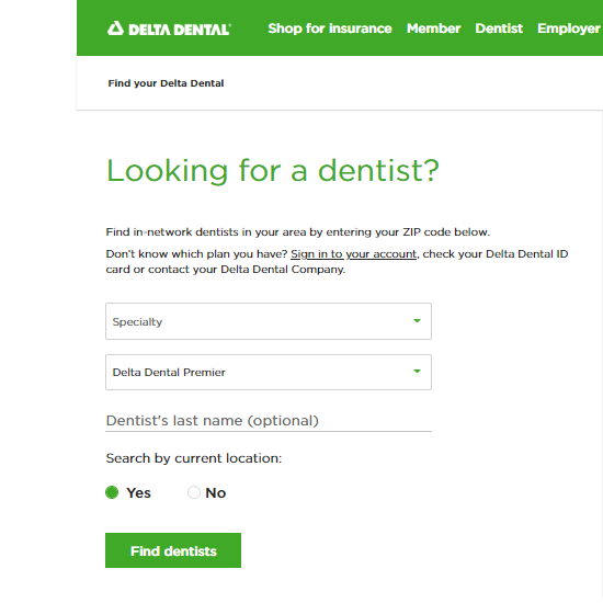 delta dental site screenshot